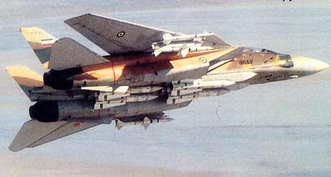 هواپیمای F-14 تامکت ایرانی که به طور کامل با موشک های سایدوایندر، اسپارو و فینیکس لود شده است.